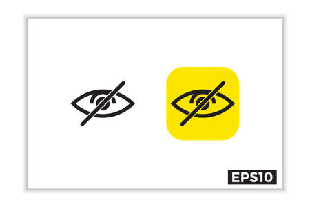 visible and invisible icons, hide icons, invisible logos, illustrations of the human eye in line art style