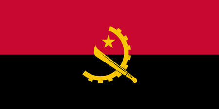 Angola national flag with official colors.