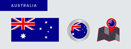 Australian flag with a commonwealth stars  federation in the field of ties and a southern cross on half the flag 向量圖像