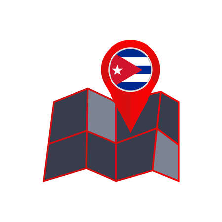 Simple Cuba map pins are isolated with country flags