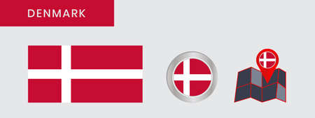 The Danish flag is isolated on official colors, embed maps, like the original 向量圖像