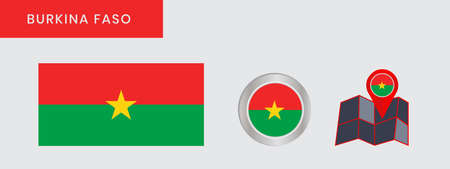Burkina faso flag in official color, embed map, as the original