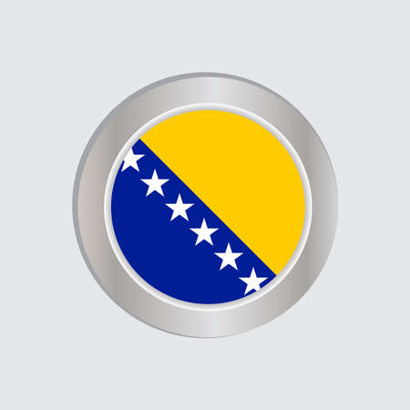 The flag of Bosnia and Herzegovina is horizontally isolated in official colors, map pins, like the original Illustration