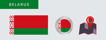 Belarusian flag is horizontally isolated in official colors, map pins, like the original
