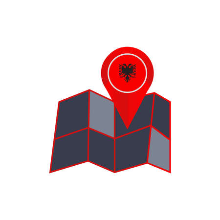 Simple Albanian map pin isolated with a country flag Vektorové ilustrace