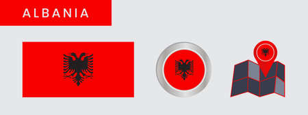 Simple Albanian flags isolated in official colors, map pins, like the original 向量圖像