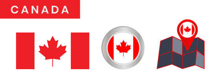 The simple flag of Canada is isolated in official colors (red and white), map pin, as the original