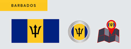 The Barbados flag is horizontally isolated in official colors, map pins, like the original