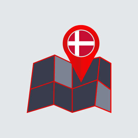 abstract icon Map of Denmark with a country flag
