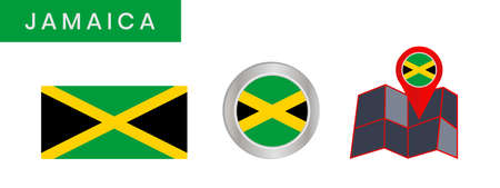 The simple flag of Jamaica is isolated in official colors (green,black and yellow), map pin, as the original