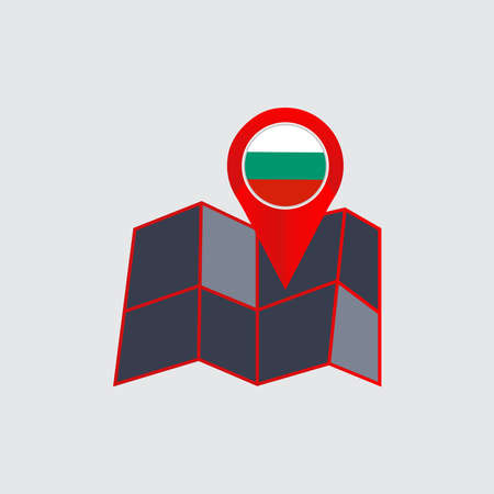 pin map of Bulgaria with a country flag 向量圖像