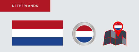 The horizontal Dutch flag is isolated in official colors, map pins, like the original