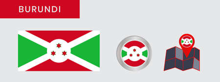 The flag of Burundi in official colors, embed the map, as the original