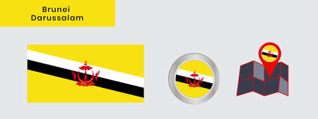 Flag of Brunei Darussalam in official colors, embed map, as the original 向量圖像