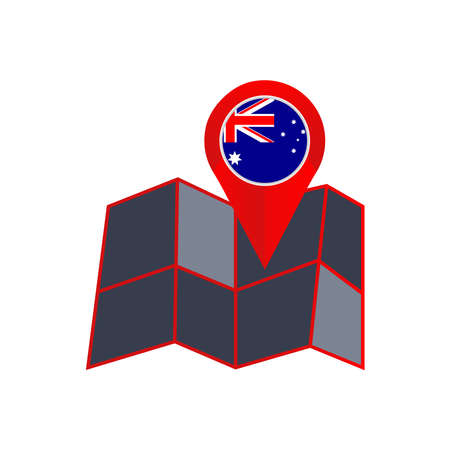 The insignia of Australia is isolated on a white background
