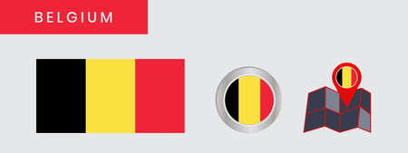 The Belgian flag is horizontally isolated in official colors, map pins, like the original  イラスト・ベクター素材