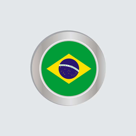 The Brazilian flag is horizontally isolated in official colors, map pins, like the original 向量圖像