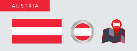 Austrias horizontal three-color flag is isolated in official colors (red, white and red), map pins, as the original 向量圖像