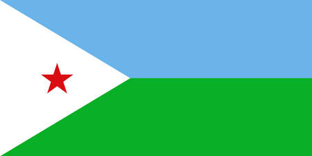 Djibouti national flag with official colors 向量圖像