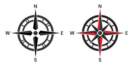 Compass pointer icon with white background, Direction, map navigation symbol.
