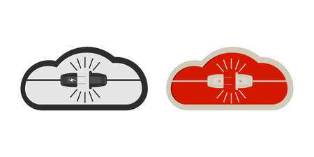 Power plug and cloud icon in vector shape on a white background Ilustracja
