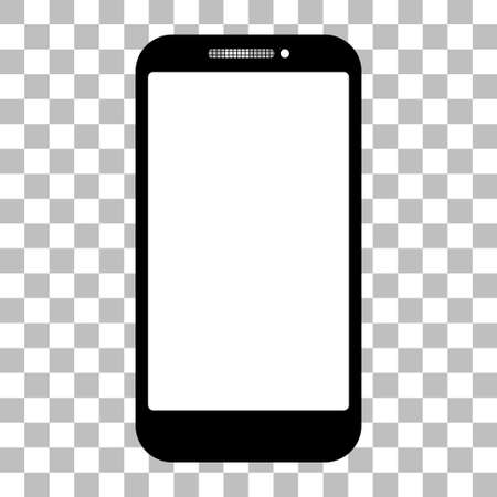 Mobile phone with a blank screen with a white background. mock-up template design, vector illustration elements.