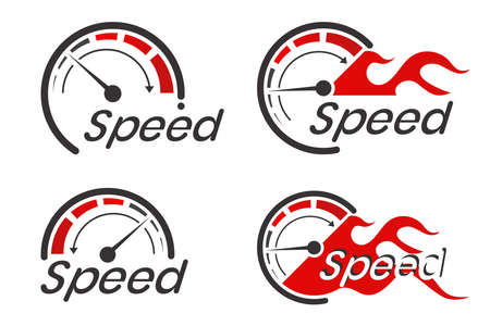 Speed logo with the speedometer concept is isolated on a white background.