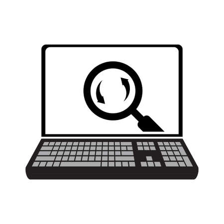 Laptop and Magnifying Glass, Template, Vector Illustration Element