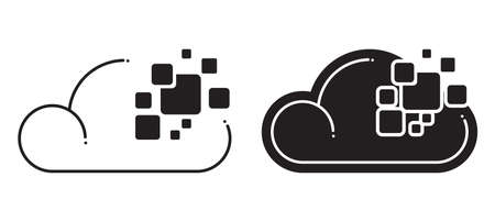 Cloud computing technology icon isolated with white background. Vector illustration element.