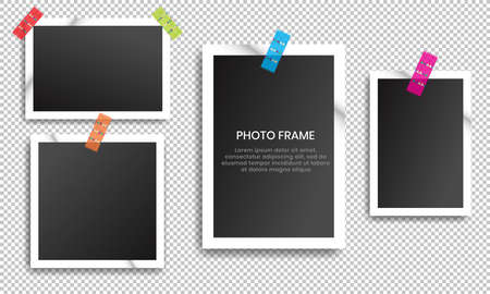 vintage photo frames collection with adhesive tape.
