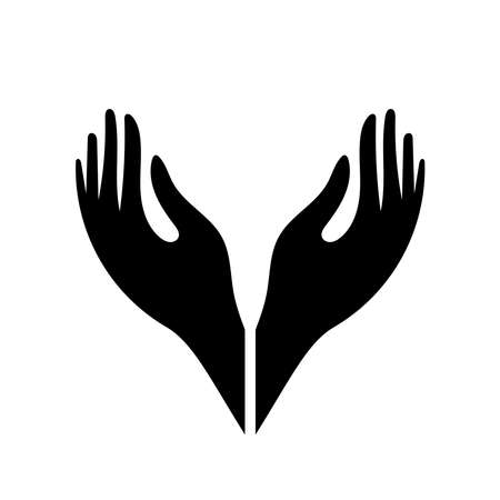 Hand icon. vector illustration of cupped hands