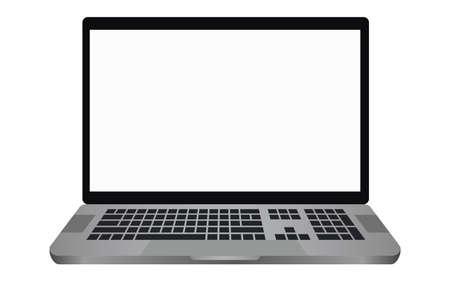 Laptop with a blank screen with a white background. mockups template design, vector illustration elements.