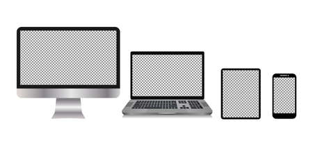 Computer Devices, Tablets, Laptops, Cellphones. isolated with transparent screen. Vector illustration element Ilustração