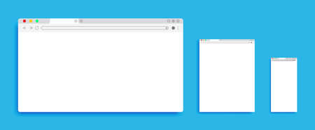 Three different Browser window. Browser in flat style for web. Vector illustration element.