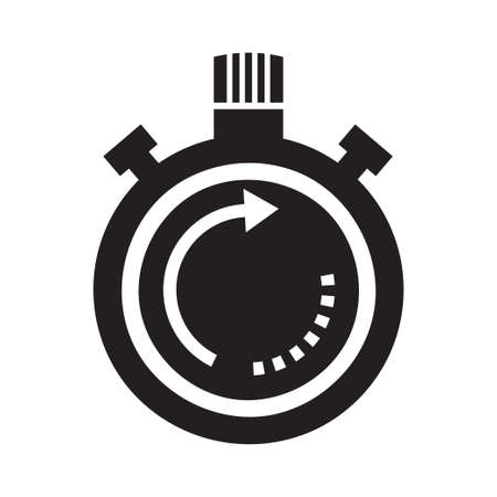 Time icon with a white background, Clock symbol, Stopwatch sign, vector illustration element