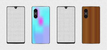 Mobile phone with a transparent screen with a white background. mockup template design, vector illustration elements. Ilustração
