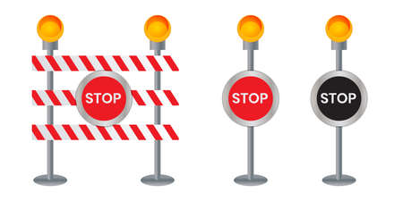 Closed road sign for barrier Construction marking (Stop)