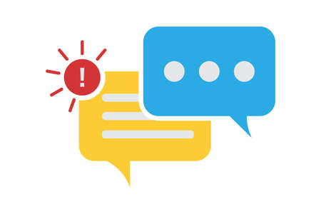 New message notification icon. Speech bubble for social media chat communication.