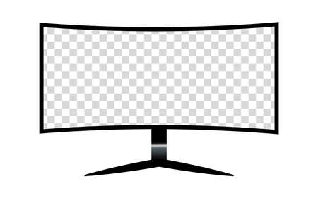 Monitor with a blank screen with a white background. mockups template design, vector illustration elements. Ilustração