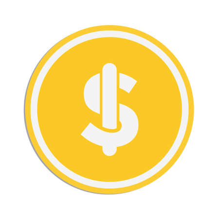 Dollar coin icon with a white background. Vector illustration element