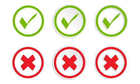 green check mark and cross mark icon collection