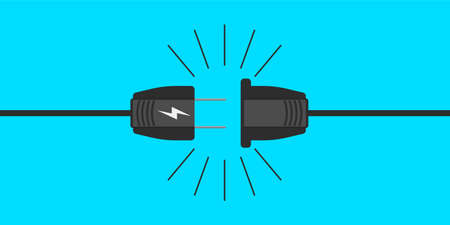Electric plug icon in vector shape on a blue background
