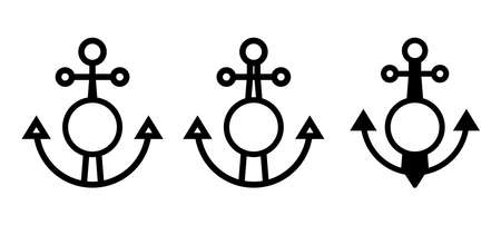 Ship anchor icon. Boat anchor flat symbol for apps and websites Illustration