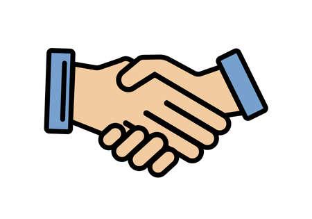Business agreement handshake line art icon for apps and websites. Vector illustration element.