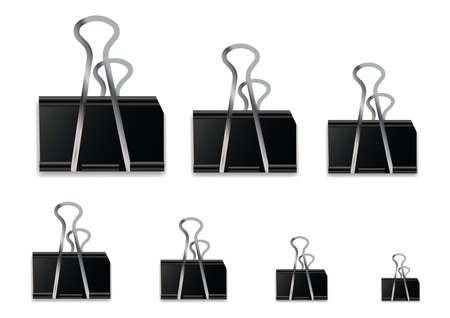 Realistic Black Paper clip isolated on white background.