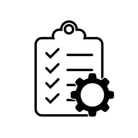 clipboard icon with a gear for documents with a check mark  イラスト・ベクター素材