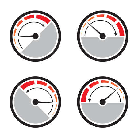 Fast acceleration speedometer icon isolated on white background.