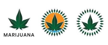 Realistic cannabis (marijuana) leaf. hemp leaf flat icon for apps and websites  イラスト・ベクター素材