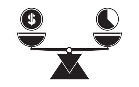 Time and money scale icons. Weigh with hours and coins. Balance. Vector illustration element