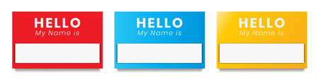 """""""Hello, my name is"""". flat introduction label"""